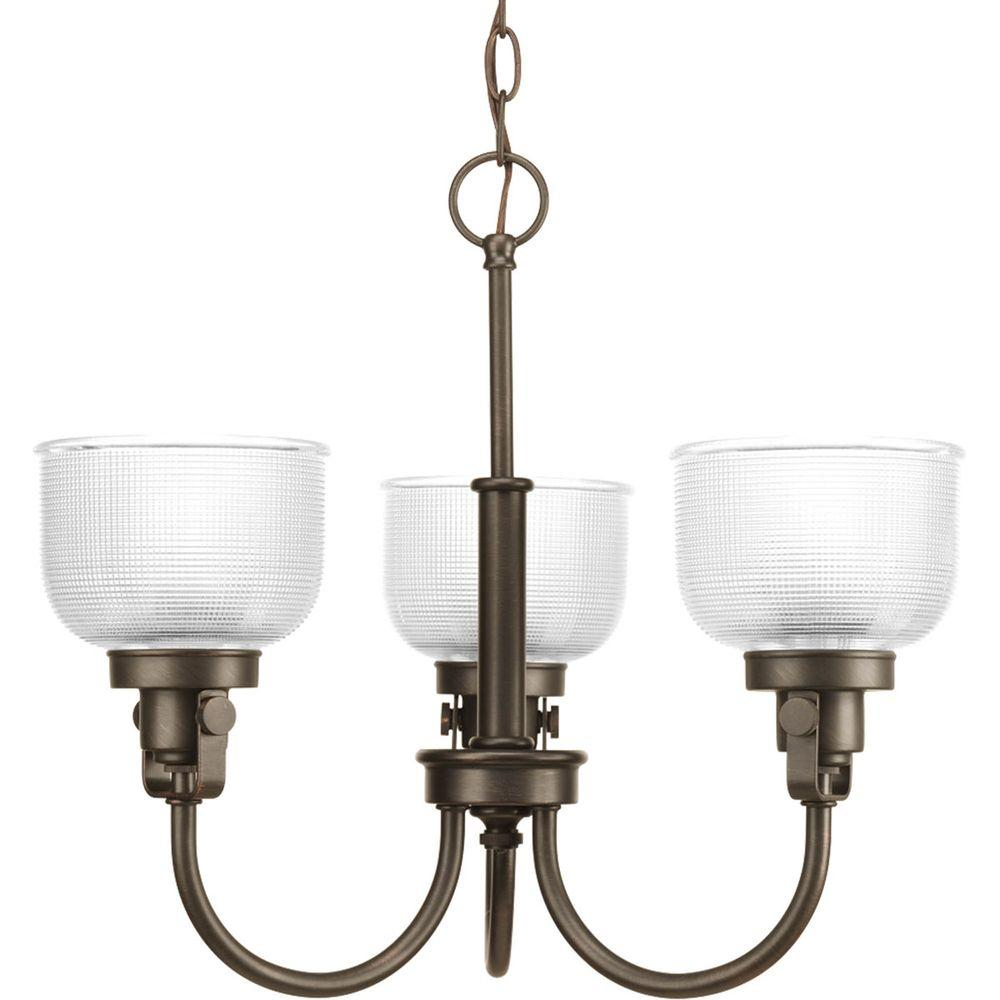 Progress Lighting Archie Collection 3-Light Venetian Bronze Chandelier with Clear Prismatic Glass Shade