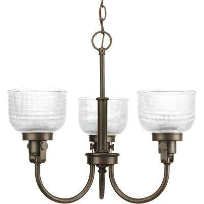 Archie Collection 3-Light Venetian Bronze Chandelier with Clear Prismatic Glass Shade