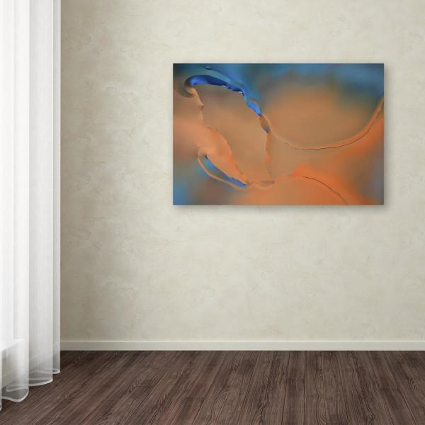 """Trademark Fine Art 12 in. x 19 in. """"Blue and Orange Flow"""" by Cora Niele Printed Canvas Wall Art"""