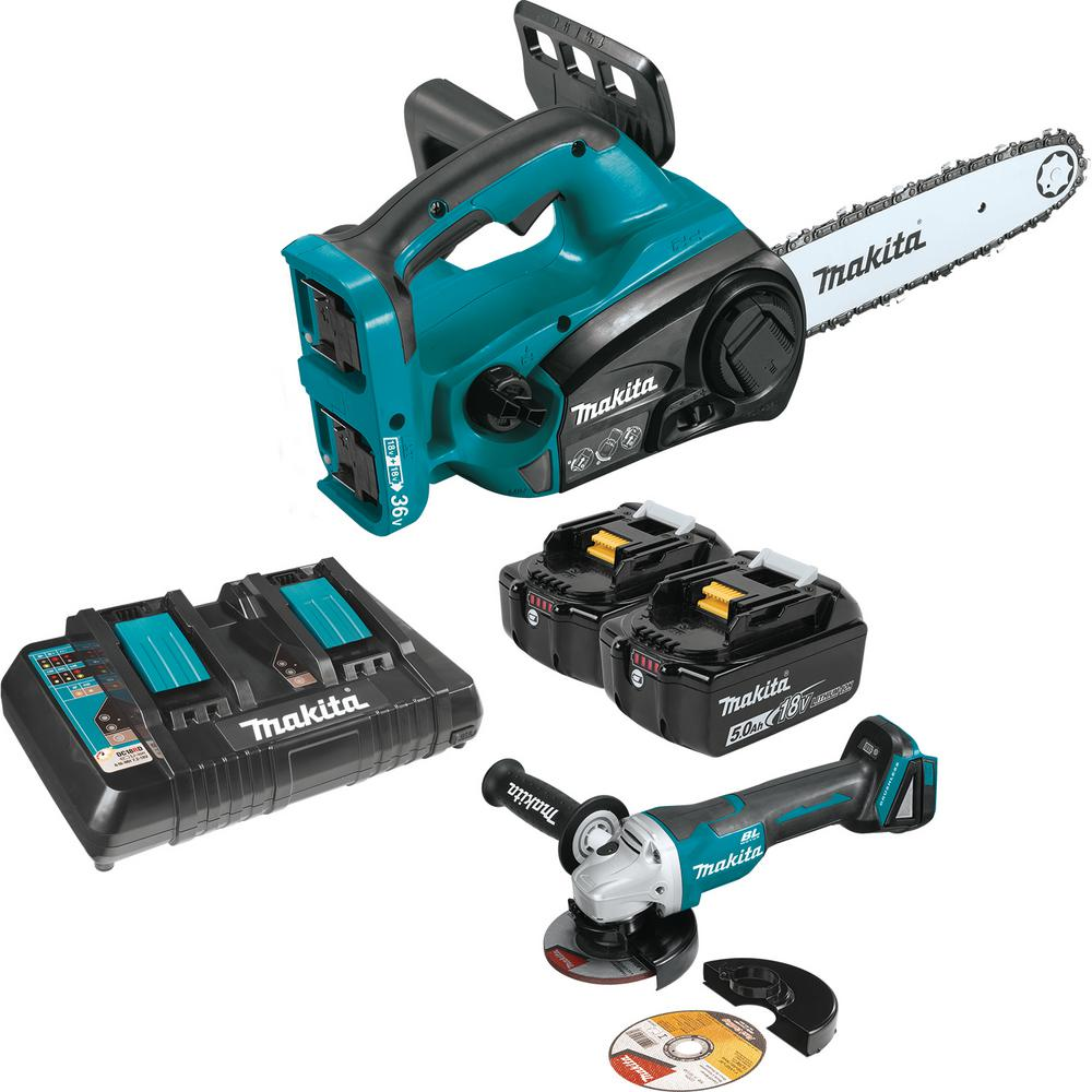 Makita 12 in. 18-Volt X2 (36-Volt) LXT Lithium-Ion Cordless Chain Saw Kit and 4-1/2 in. Paddle Switch Cut-Off/Angle Grinder