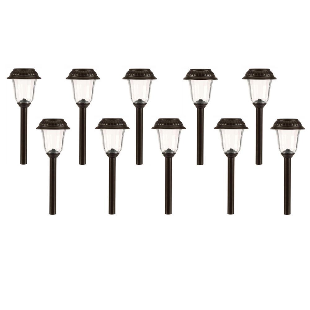 Solar Charcoal Brown Integrated LED Landscape Path Light Set (10-Pack)