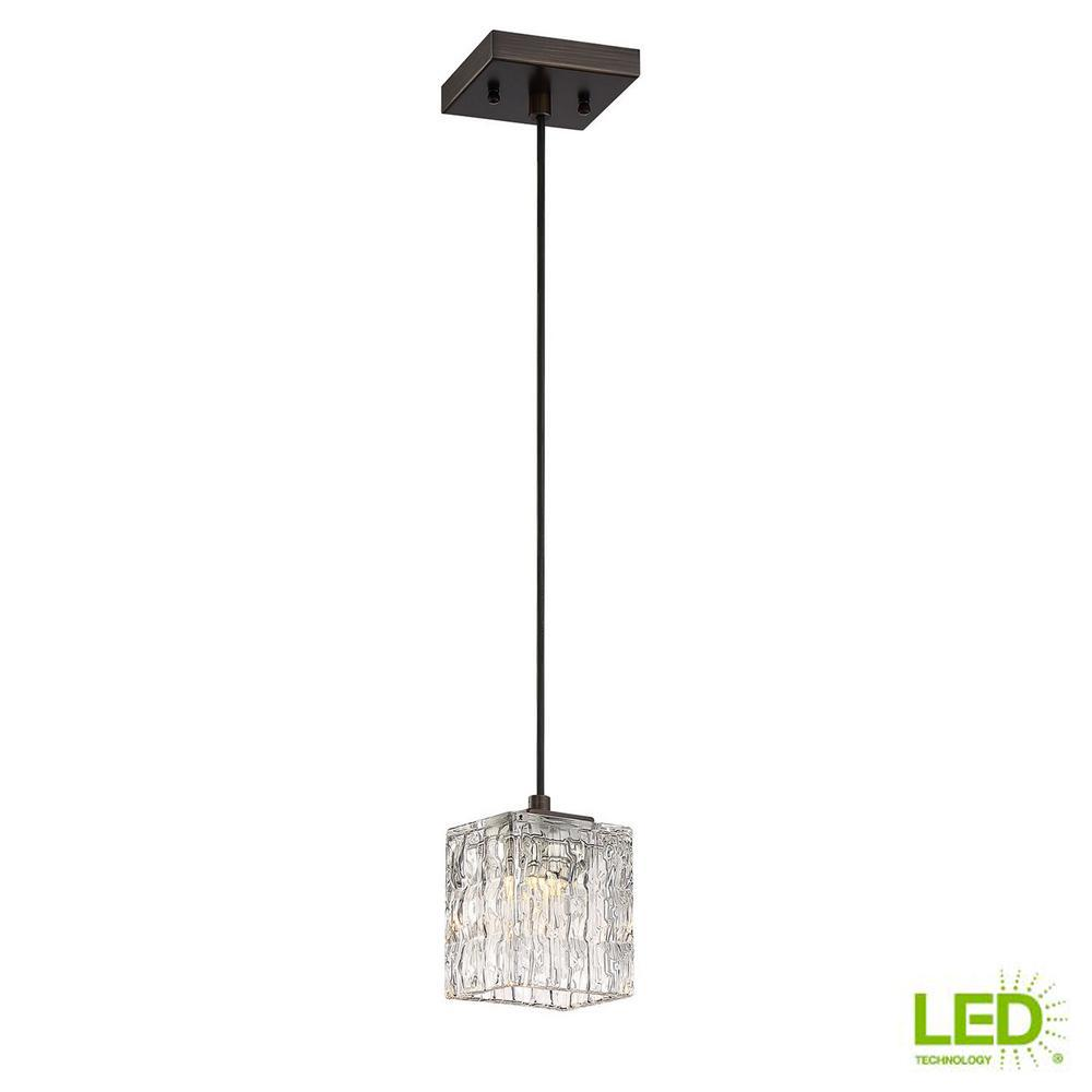 40 watt metallic bronze integrated led mini pendant