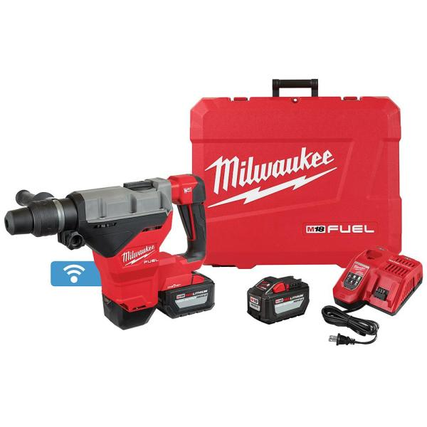M18 FUEL ONE-KEY 18-Volt Lithium-Ion Brushless Cordless 1-3/4 in. SDS-MAX Rotary Hammer with Two 12.0 Ah Battery