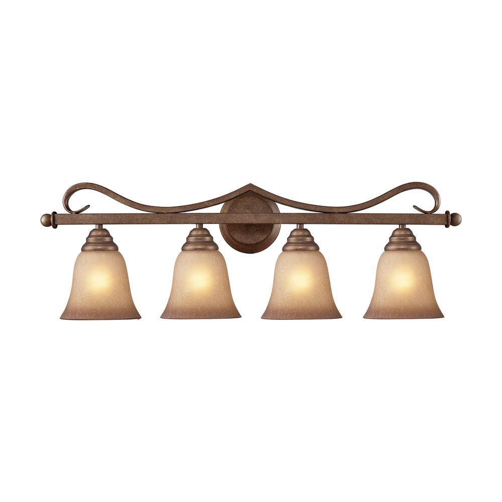 Lawrenceville 4-Light Mocha with Antique Amber Glass Bath Light