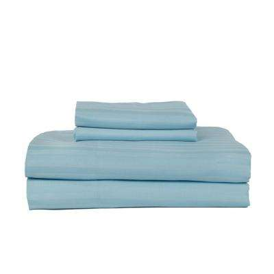 Aqua 410-Thread Count Cotton Rich Stripe Sateen Queen Sheet Set