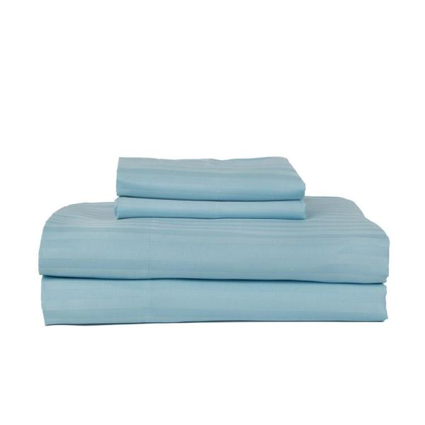 PERTHSHIRE Aqua 400 Thread Count Cotton Rich Stripe Satteen Queen Sheet
