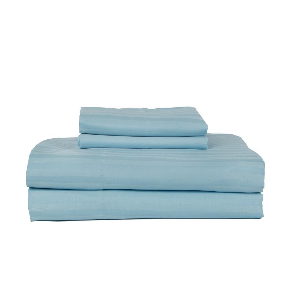 PERTHSHIRE 4-Piece Aqua Cotton Queen Sheet Set T450Q-STR-AQU