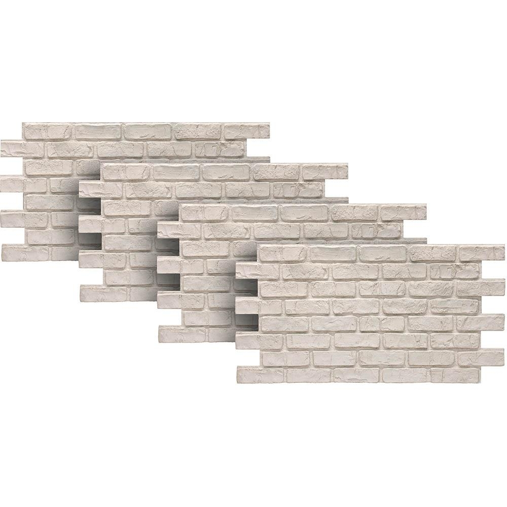 Urestone White 24 in. x 46-3/8 in. Faux Used Brick Panel (4-Pack)