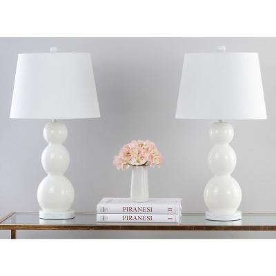 Jayne 27.5 in. White Three Sphere Glass Table Lamp with White Shade (Set of 2)