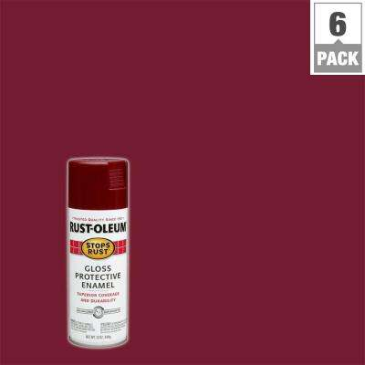 12 oz. Protective Enamel Gloss Burgundy Spray Paint (6-Pack)