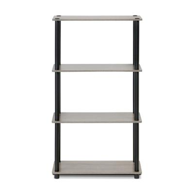 43.25 in. French Oak Gray/Black Plastic 4-shelf Etagere Bookcase with Open Back