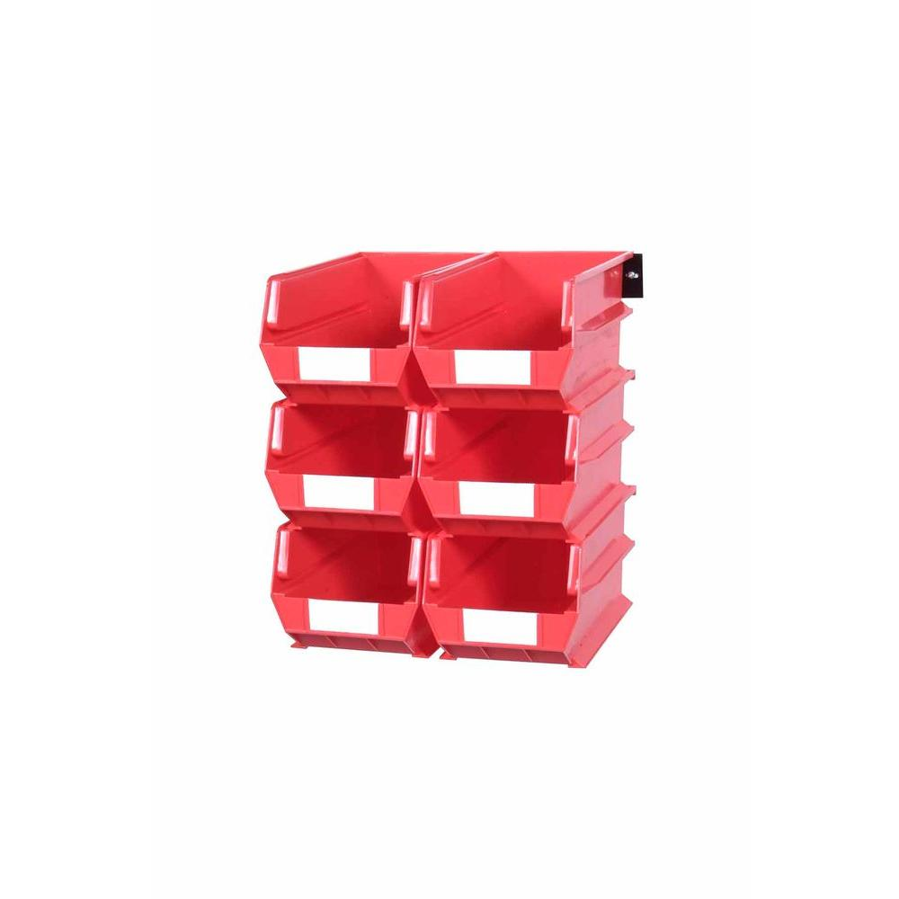 LocBin 2.76-Gal. Wall Storage Bin System in Red (6-Bins) and 2-