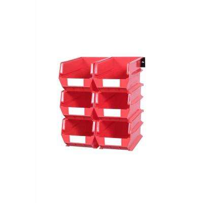 LocBin 2.76-Gal. Wall Storage Bin System in Red (6-Bins) and 2- Wall Mount Rails