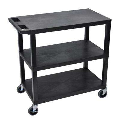 EC 35.25 in. W x 18 in. D x 34.5 in. H 3-Flat Shelf Utility Cart in Black