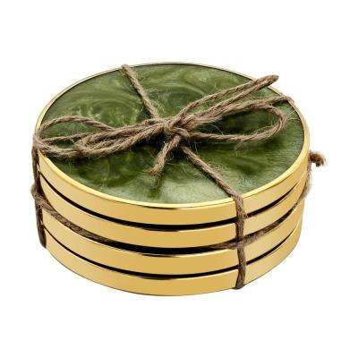 Hammered Brass 4-Pieces Green Coaster Set