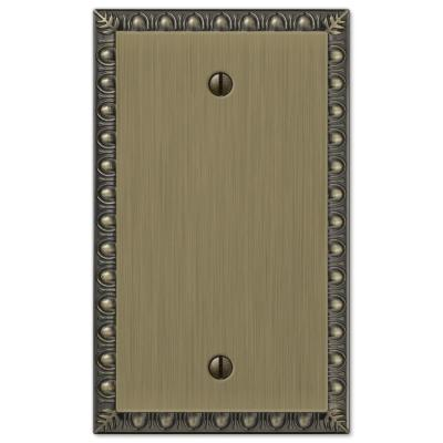 Antiquity 1 Gang Blank Metal Wall Plate - Brushed Brass