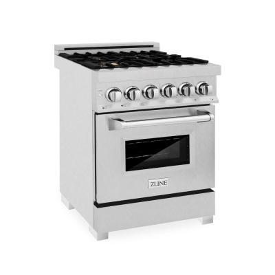 ZLINE 24 in. Professional 4.0 cu. ft. Dual Fuel Range in DuraSnow Stainless Steel with Brass Burners