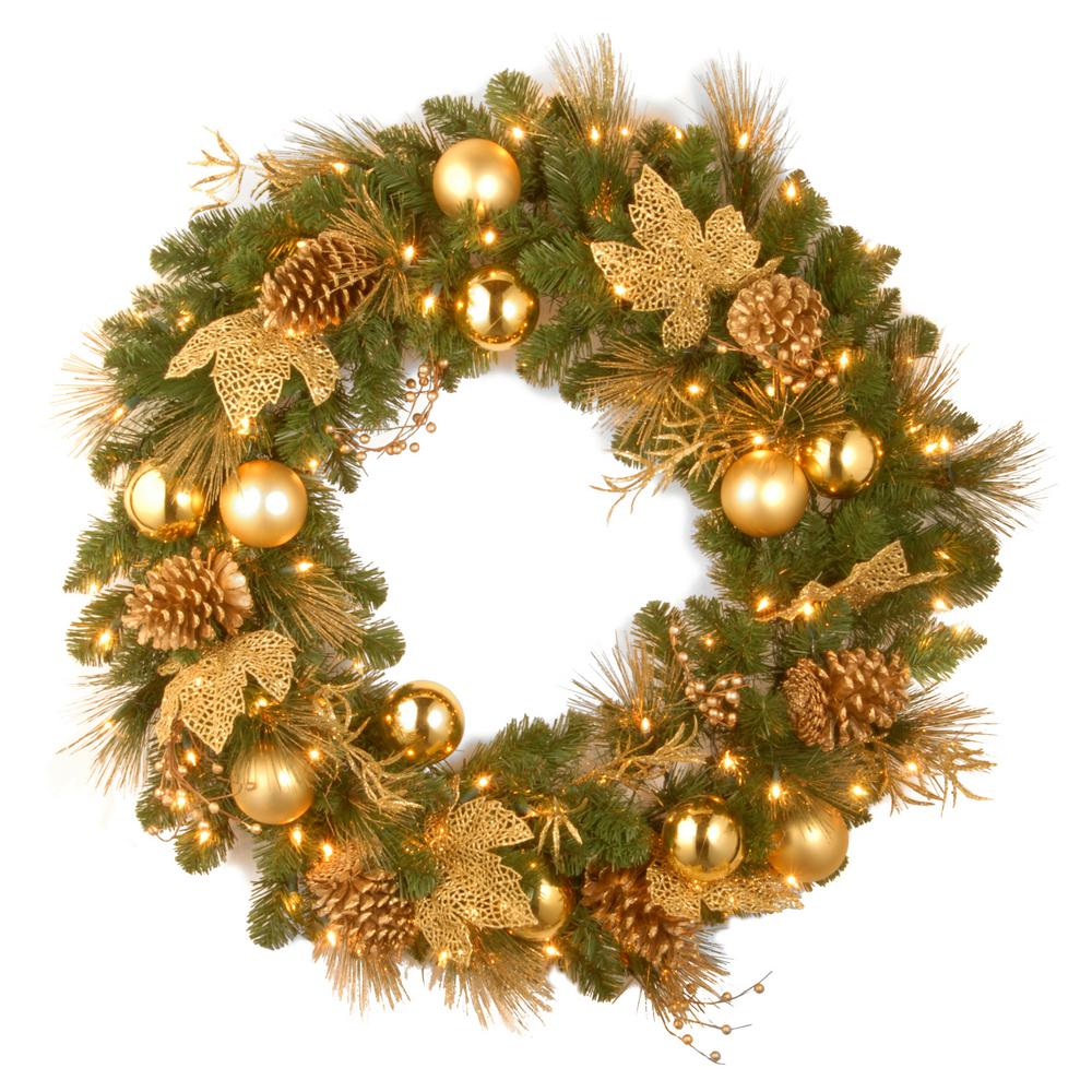 Gold Christmas Wreath.National Tree Company Decorative Collection Elegance Spruce 24 In Artificial Wreath With Battery Operated Warm White Led Lights