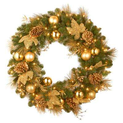 Decorative Collection Elegance Spruce 24 in. Artificial Wreath with Battery Operated Warm White LED Lights