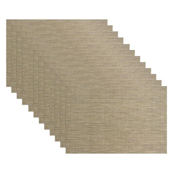 19 in. x 13 in. Grass Cloth Camel Reversible PVC and Polyester Woven Indoor Outdoor Placemats (Set of 12)