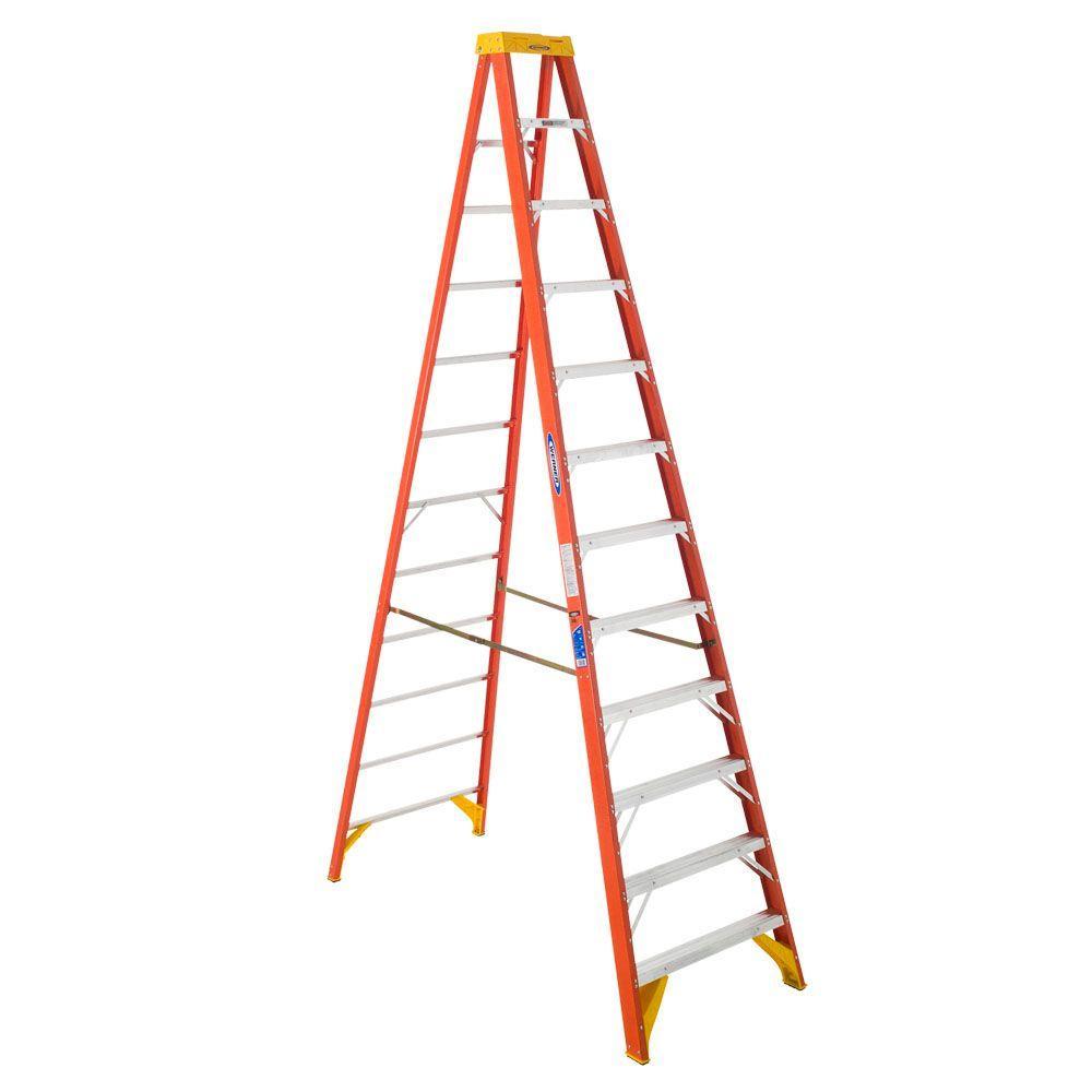 12 ft. Fiberglass Step Ladder with Shelf 300 lb. Load Capacity Type IA Duty Rating