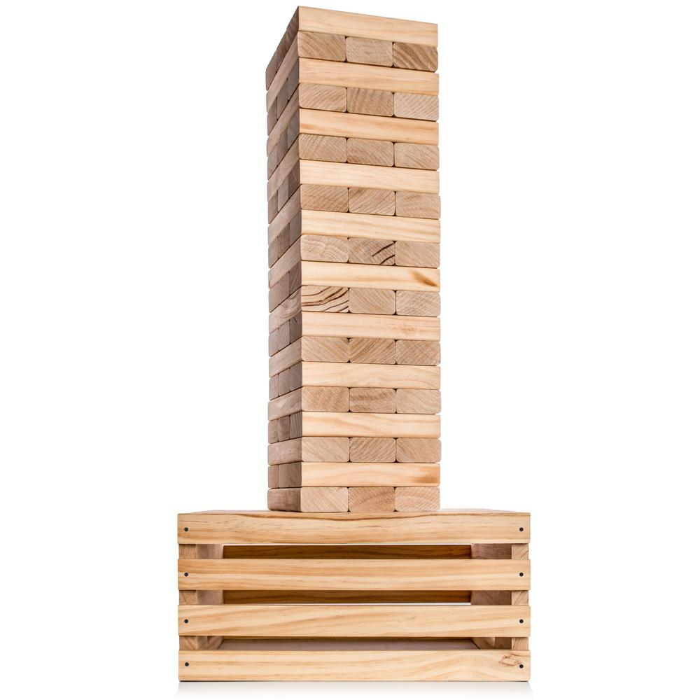SPLINTER WOODWORKING CO. Giant Tumble Tower with 2-in-1 Storage Crate and Game Table