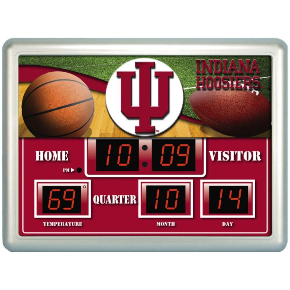 null University of Indiana 14 in. x 19 in. Scoreboard Clock with Temperature
