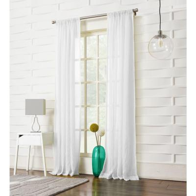 Sheer White No. 918 Millennial Laguna Sheer Rod Pocket Curtain Panel, 50 in. W x 84 in. L