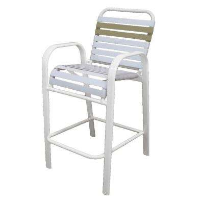 Marco Island White Commercial Grade Aluminum Bar Height Patio Dining Chair with White and Putty Vinyl Straps
