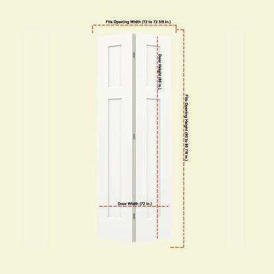 36 in. x 80 in. Craftsman White Painted Smooth Molded Composite MDF Closet Bi-Fold Double Door