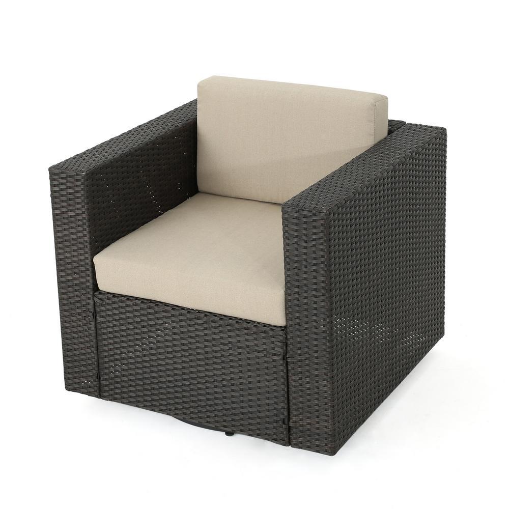 Dark Brown Swivel Wicker Outdoor Lounge Chair with Beige Cushion
