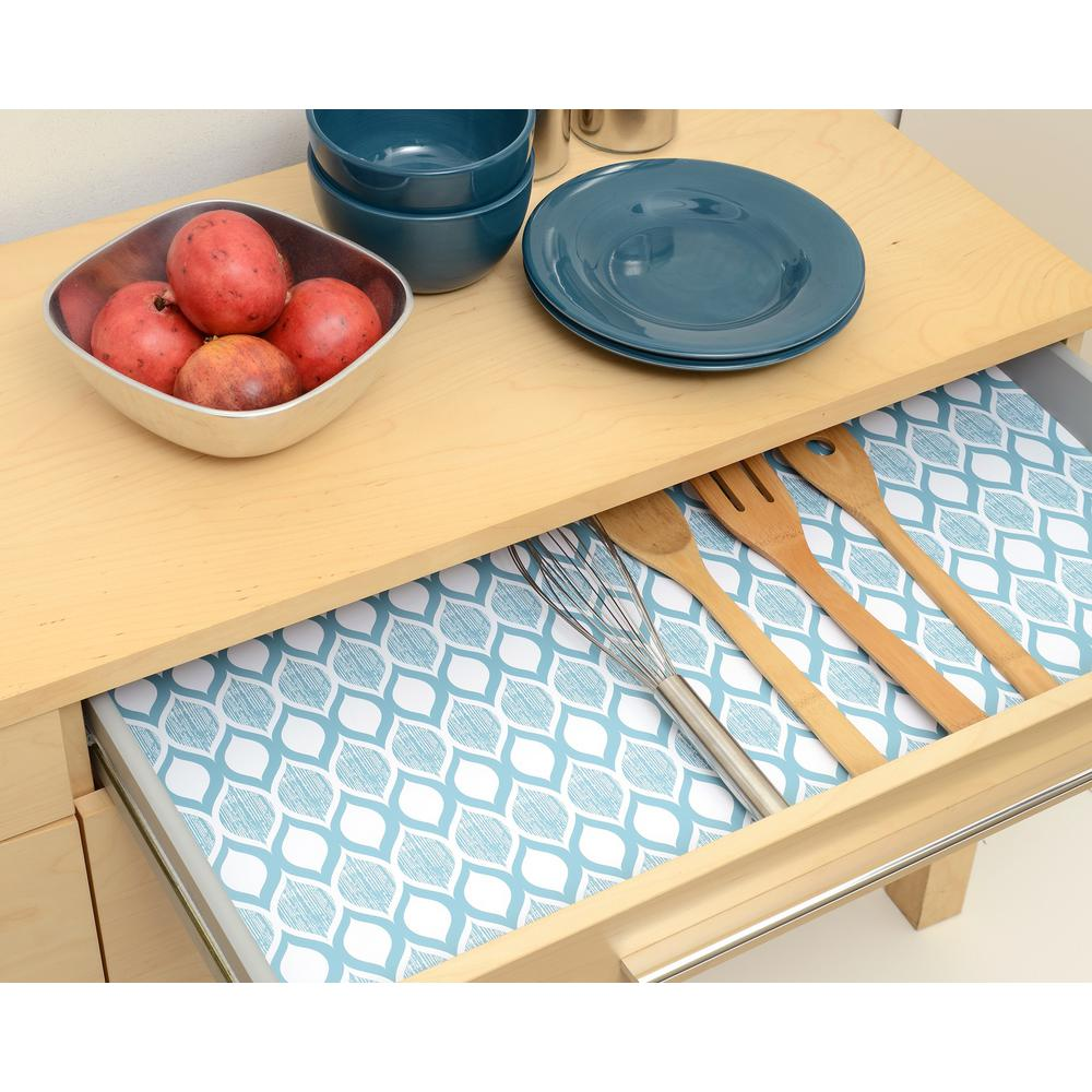 Kitchen Shelf Liner Reviews: Con-Tact Grip Prints Savory Teal Blue Shelf And Drawer