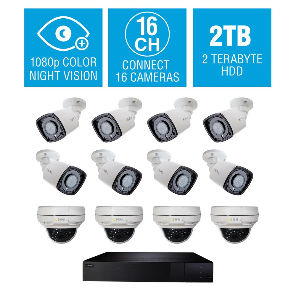 Q-SEE 16-Channel 4K 2TB NVR Surveillance System with (4) 4MP Dome and (8)  1080P Starlight Bullet Cameras