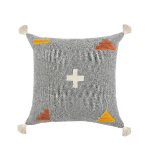 Swiss Zeal Gray Positive Sign Textures Tassels Poly-fill 20 in. x 20 in. Throw Pillow