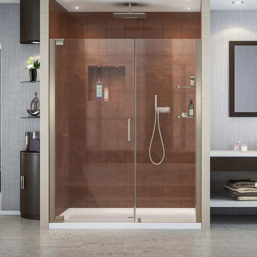 Elegance 56-1/4 in. to 58-1/4 in. x 72 in. Semi-Frameless Pivot Shower Door in Brushed Nickel
