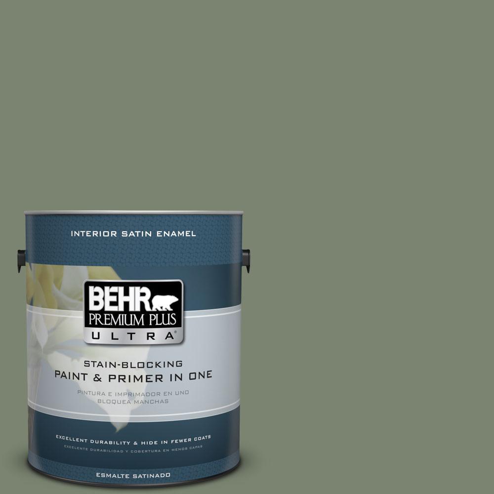 BEHR Premium Plus Ultra 1-Gal. #PPU11-18 Cactus Garden Satin Enamel Interior Paint