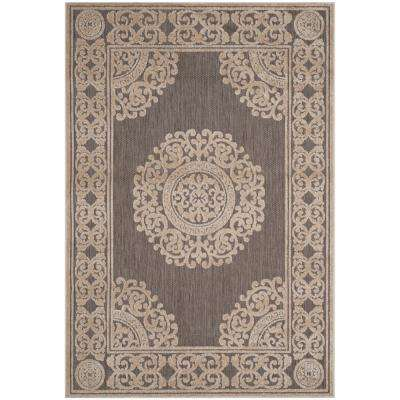 Cottage Indoor/Outdoor Taupe 7 ft. x 10 ft. Area Rug