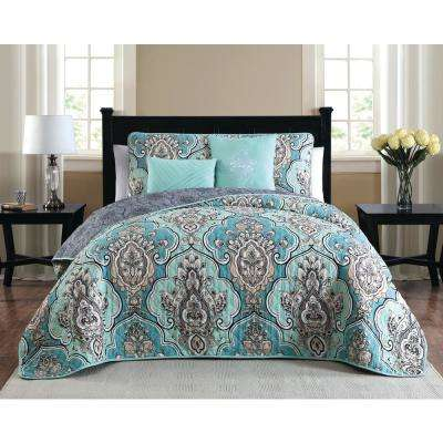 Odette 5-Piece Teal Queen Quilt Set