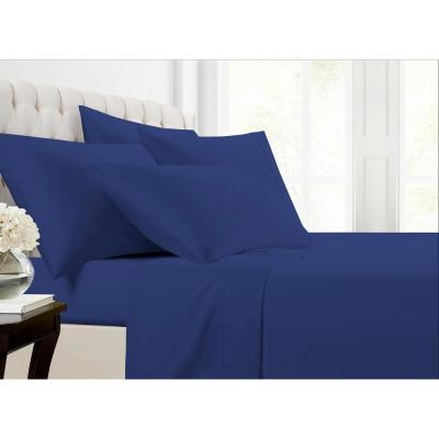 Mhf Home 6-Piece Navy Solid 800 Thread Count Cotton Blend Queen Sheet Set