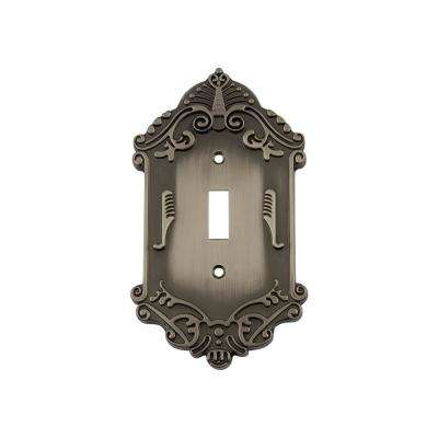 Victorian Switch Plate with Single Toggle in Antique Pewter