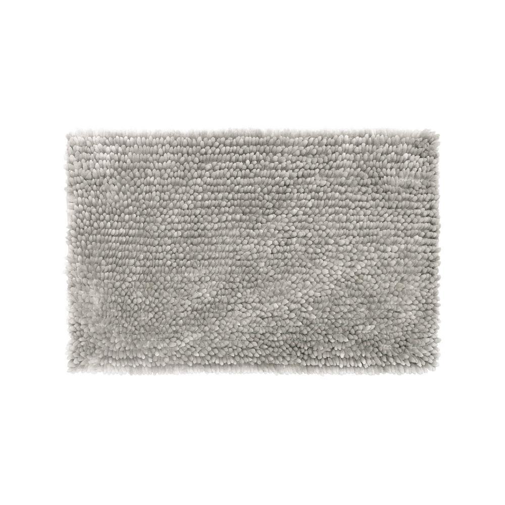 Mega Er Chenille 17 In X 24 Bath Mat Light Grey