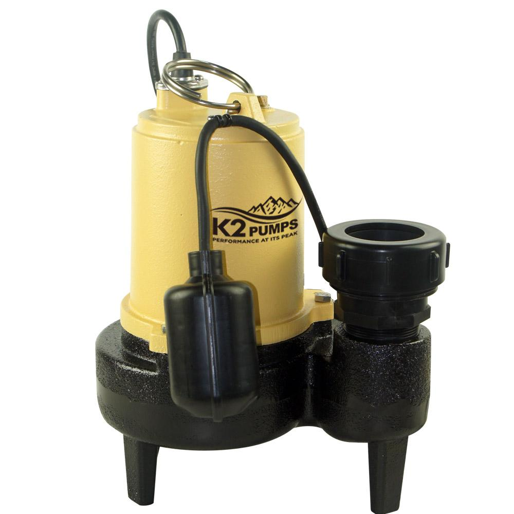 K2 1/2 HP Sewage Pump with Tether Switch