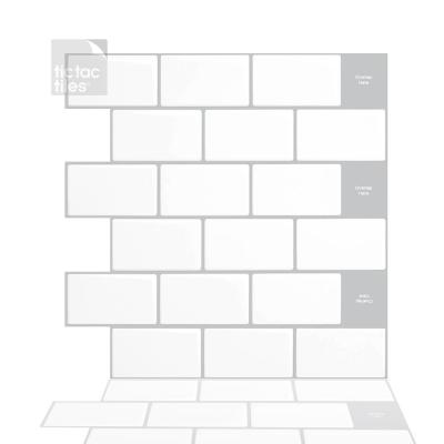 Subway Mono White 12 in. W x 12 in. H Peel and Stick Decorative Mosaic Wall Tile Backsplash (5-Tiles)