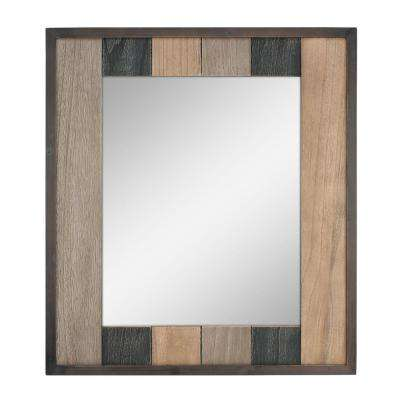 Rectangle Natural Wood Plank Decorative Wall Mirror