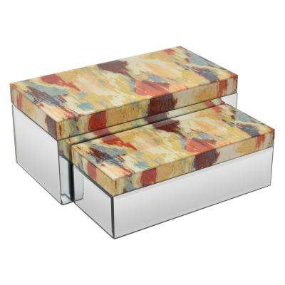 14 in. x 6.75 in. x 6 in. Multicolored Top Glass Mirrored Box (Set of 2)