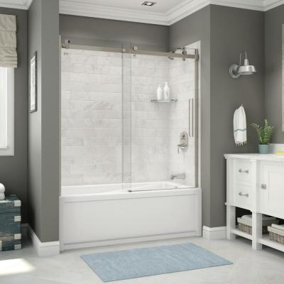 Utile 32 in. x 60 in. x 81 in. Bath and Shower Combo in Marble Carrara, New Town Right Drain, Halo Door Brushed Nickel