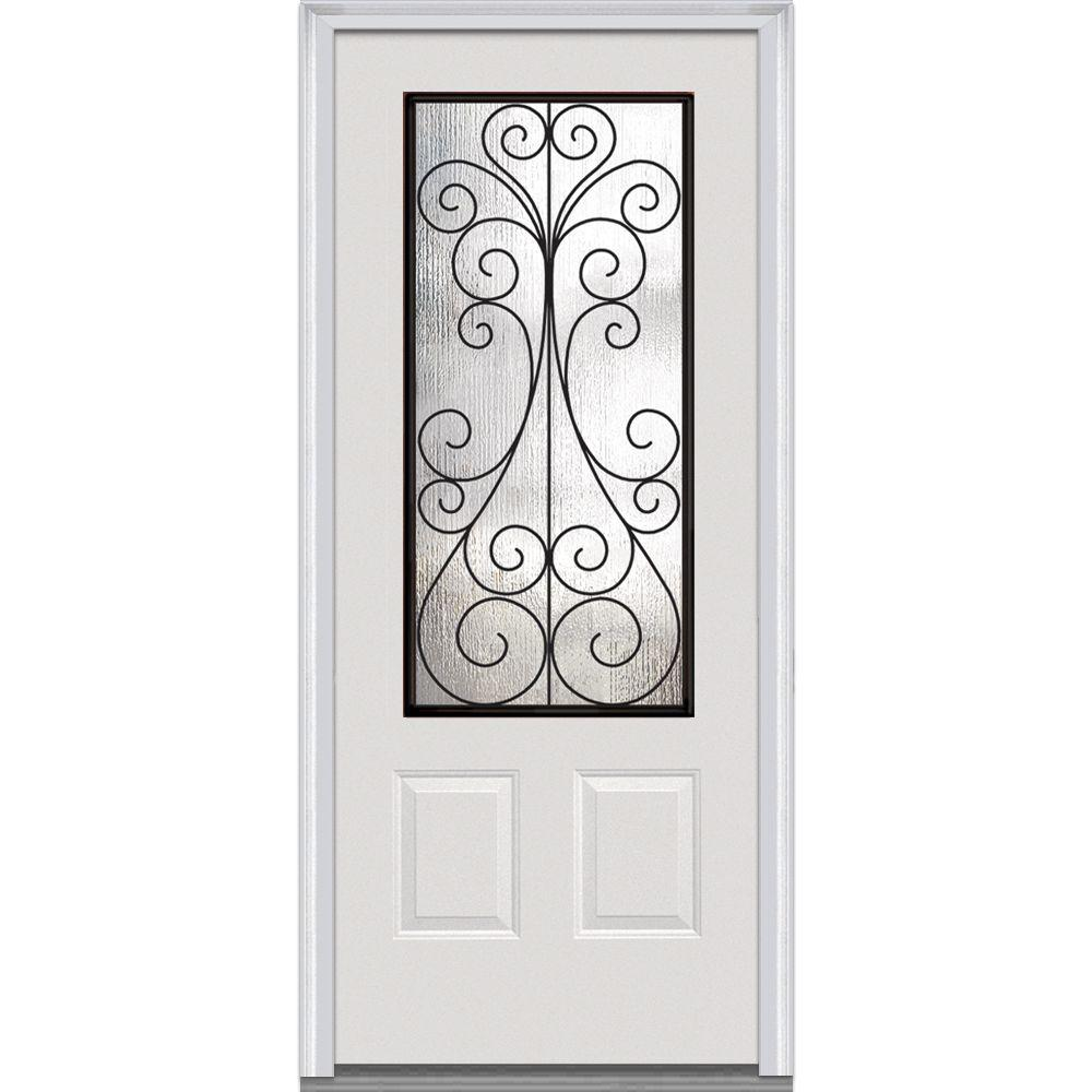 MMI Door 36 in. x 80 in. Camelia Left-Hand 3/4 Lite 2-Panel Midcentury Primed Fiberglass Smooth Prehung Front Door