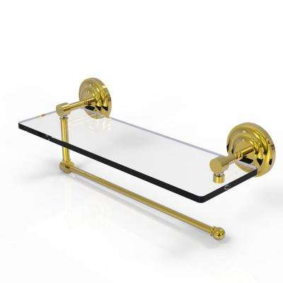 Prestige Que New Collection 16 in. Paper Towel Holder with Glass Shelf in Unlacquered Brass