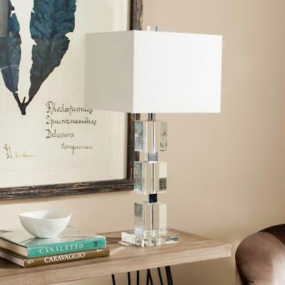 Ice Palace 28 in. Clear Crystal Cube Table Lamp with White Shade