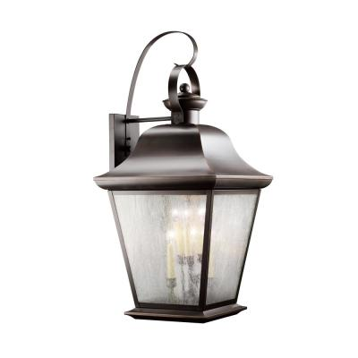 Mount Vernon 32.5 in. 6-Light Olde Bronze Outdoor Wall Mount Lantern with Clear Seeded Glass Panels